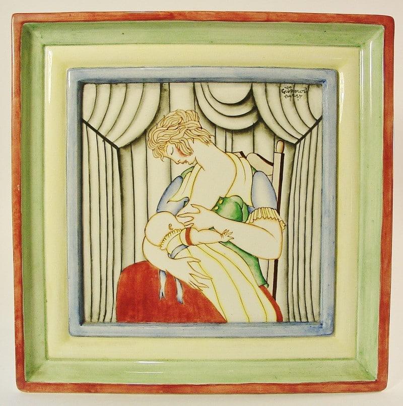 Gio Ponti. Placa en cerámica decorada. Firmada