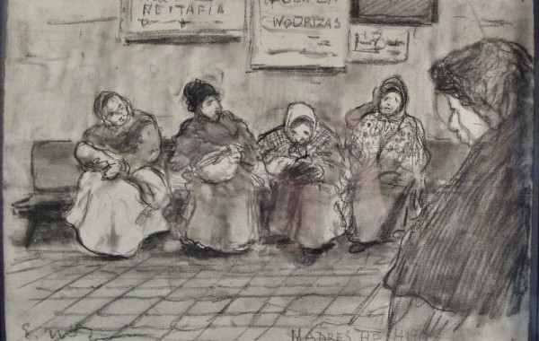 Eliseo Meifrén Roig. Madres e hijos. Carboncillo sobre papel. Caricatura.