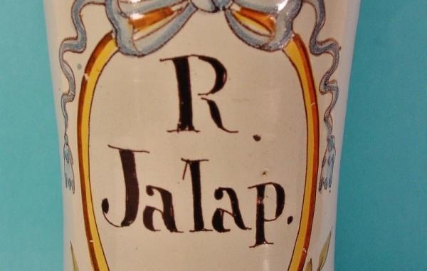 Tarro de farmacia en cerámica catalana decorada. Serie de Bañolas. Siglo XVIII.