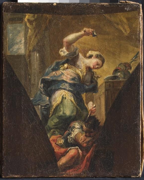 Vicente López Portaña. Jael matando a Sisara. Boceto para la iglesia de Santa María del Mar del Grao, Valencia.