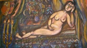 Mujer desnuda. Falsa pintura de Marc Chagall