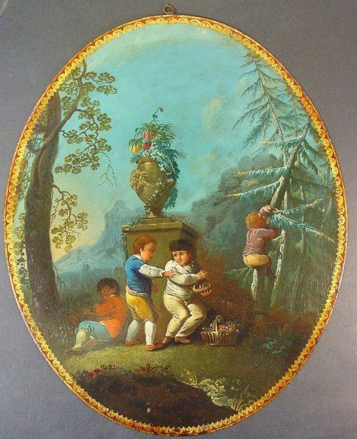 Niños jugando. Escuela Española. Hacia 1800.